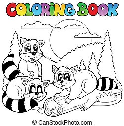 Coloring book with happy animals 3 - vector illustration.