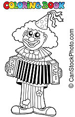 Coloring book with happy clown 1
