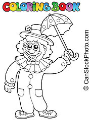 Coloring book with happy clown 6 - vector illustration.