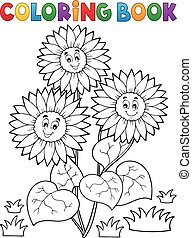 Coloring book with happy sunflowers - eps10 vector...