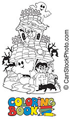 Coloring book with haunted house - vector illustration.
