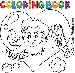 Coloring book with heart and Cupid