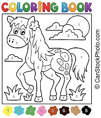 Coloring book with horse