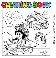 Coloring book with Indian in boat - vector illustration.