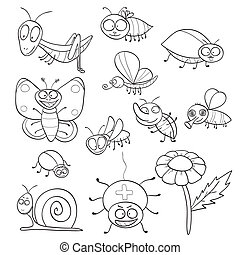 Outlined cute cartoon insects for coloring book. Vector illustration.