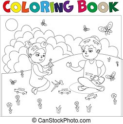 Coloring book with kids.