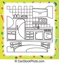 Coloring book with kitchen - vector illustration.