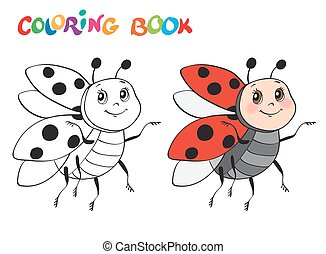 Coloring book with Ladybug. Vector illustration. Isolated on white.