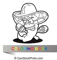 Coloring book with Mexican theme - vector illustration