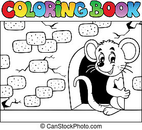 Coloring book with mouse 3 - vector illustration.