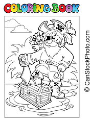 Coloring book with pirate scene 1 - vector illustration.