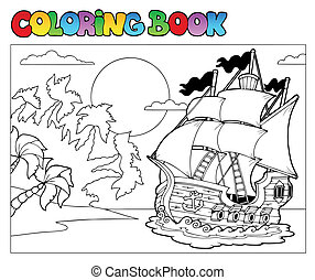 Coloring book with pirate scene 2 - vector illustration.