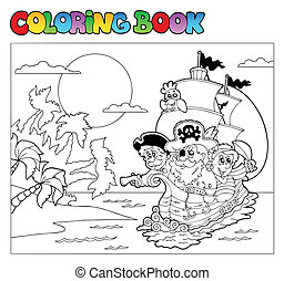 Coloring book with pirate scene 3 - vector illustration.