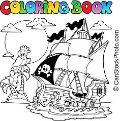 Coloring book with pirate ship 2 - vector illustration.