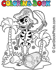 Coloring book with pirate theme 1