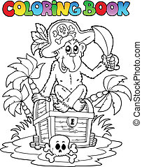 Coloring book with pirate theme 3 - vector illustration.