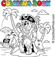 Coloring book with pirate theme 9 - vector illustration.
