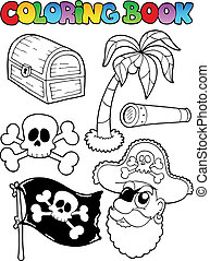 Coloring book with pirate topic 7 - vector illustration.