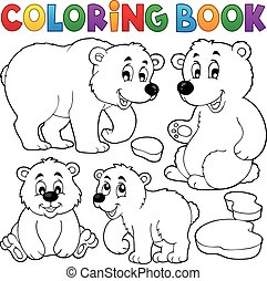 Coloring book with polar bears - eps10 vector illustration.