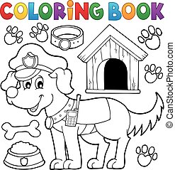 Coloring book with police dog - eps10 vector illustration.