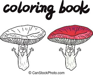 Coloring book with rassule, a edible mushroom. - Coloring...