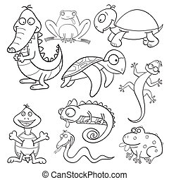 Coloring book with reptiles and amphibians - Outlined cute...