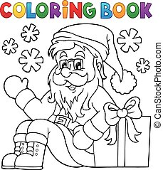 Coloring book with Santa Claus and gift