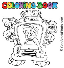 Coloring book with school images 3 - vector illustration.