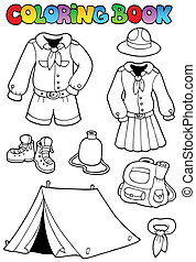 Coloring book with scout clothes - vector illustration.