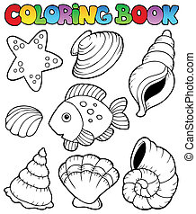 Coloring book with seashells - vector illustration.