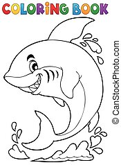 Coloring book with shark theme