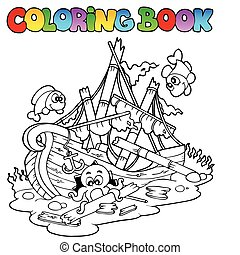 Coloring book with shipwreck - vector illustration.