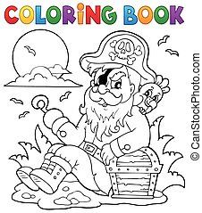 Coloring book with sitting pirate