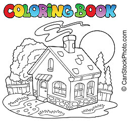 Coloring book with small house - vector illustration.