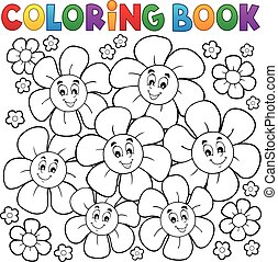 Coloring book with smiling flowers