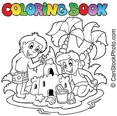 Coloring book with summer theme 1 - vector illustration.