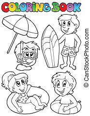 Coloring book with swimming kids - vector illustration.