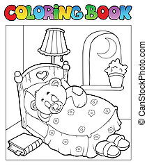 Coloring book with teddy bear 1 - vector illustration.