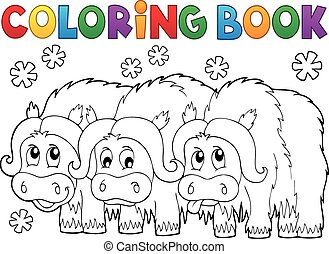 Coloring book with three muskoxen