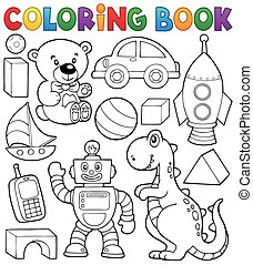 Coloring book with toys thematics 2 - eps10 vector...