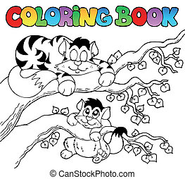 Coloring book with two cats - vector illustration.