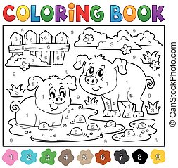 Coloring book with two happy pigs