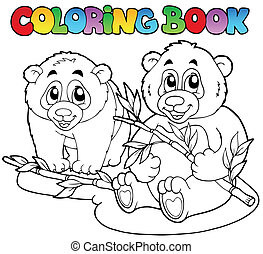 Coloring book with two pandas - vector illustration.