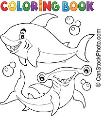 Coloring book with two sharks - eps10 vector illustration.