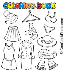 Coloring book with various clothes - vector illustration.