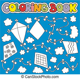 Coloring book with various kites