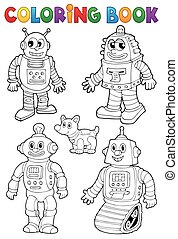 Coloring book with various robots