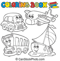 Coloring book with various vehicles - vector illustration.
