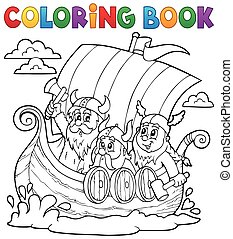 Coloring book with Viking ship - eps10 vector illustration.