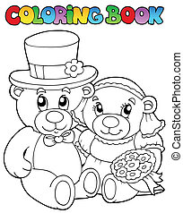 Coloring book with wedding bears - vector illustration.